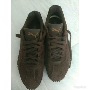 Mens Puma brown suede leather athletic shoes